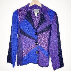 Curio Blue & Purple Color Block Button Cardigan Small 2/$30